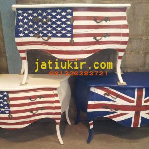Drawer Motif bendera America dan England